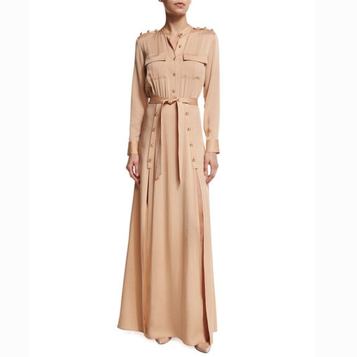 Sleeve Crepe Military Maxi Dress