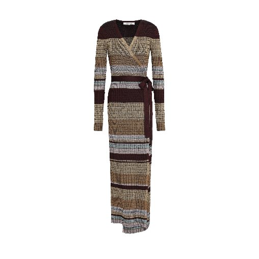 Metallic jacquard-knit maxi wrap dress