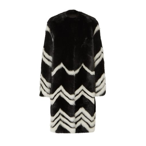 Chevron shearling coat